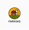 farm linear logo on white banner background vector image