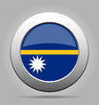 flag of nauru shiny metal gray round button vector image vector image
