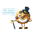 funny smiling mr cookie character choc chip cookie vector image vector image