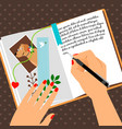 girls diary scheduler with bookmark vector image vector image
