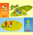 golf isometric horizontal banners vector image vector image