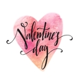 Handwritten Valentines Day calligraphy on red vector image vector image
