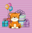 happy birthday card with cute tiger vector image