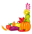 harvest decorative element with fruits and vector image vector image