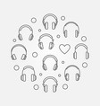 headphones icons in circle shape line vector image vector image