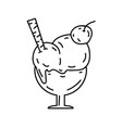 ice cream icon doodle hand drawn or black vector image