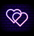 illuminated neon love hearts sign frame light vector image vector image