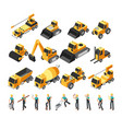 isometric construction workers building machinery vector image vector image
