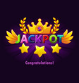 jackpot casino label with shooting stars on vector image vector image