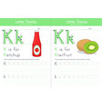 k for ketchup for kiwifruit vector image vector image