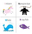 Letter U V W X Unicorn Vampire bat Whale X-ray vector image