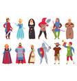 medieval characters flat knight man king vector image