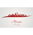 Messina skyline in red vector image vector image