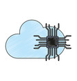 microchip and cloud computing scribble vector image vector image