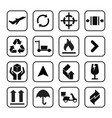 packaging icons symbol in flat style black signs vector image