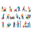 people in airport passengers at passport control vector image