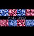 pixel camo seamless pattern big set urban pink vector image vector image