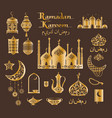 ramadan kareem poster in brown and gold colors vector image