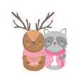 reindeer and raccoon with scarf sweater vector image vector image
