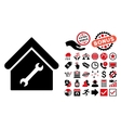 Repair Building Flat Icon with Bonus vector image vector image