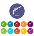 revolver icons set color vector image vector image