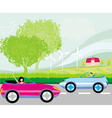 ride car on a summer day vector image vector image