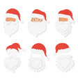 santa clause paper cuted style heads set vector image