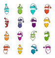 santa hats mustache and beards icons doodle set vector image vector image