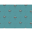 Seagulls and boats sea view seamless pattern