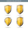 Set of metal orange mediavel shields template vector image vector image