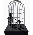 skeleton silhouette in sitting in cage vector image vector image