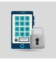 smartphone padlock silhouette password vector image