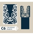 Template envelope with carved openwork pattern vector image vector image