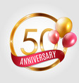 template gold logo 50 years anniversary with vector image vector image