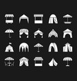 tent white silhouette icons set vector image vector image