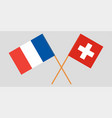 the crossed france and switzerland flags official vector image