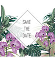 tropical flowers bouquet elegant card template vector image vector image