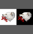 white wolf head crushing word jaws vector image vector image