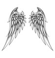 wings drawn in engraving style tattoo vector image vector image