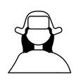 woman portrait winter hat character vector image