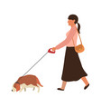 woman walking a dog young girl goes vector image