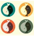 Yin and yang whale set vector image vector image