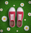 Vintage sneakers standing on green grass vector image