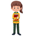 a brunette student character vector image vector image