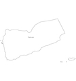 Black White Yemen Outline Map vector image vector image