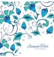 blue green swirly flowers frame corner vector image vector image