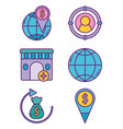 business strategy digital marketing icons set vector image vector image
