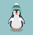cute penguin with wool hat vector image vector image