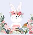 cute rabbit bunny in flower garden cartoon vector image vector image