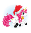 cute santa magical unicorn with santa hat and vector image vector image